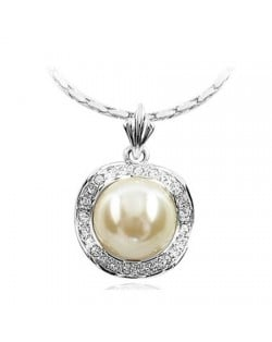 White Pearl Inlaid Rhinestone Rimmed Platinum Plated Pendant Necklace