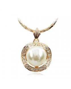 White Pearl Inlaid Rhinestone Rimmed 18K Rose Gold Pendant Necklace
