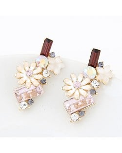Korean Fashion Sweet Chrysanthemum and Rhinestone Combo Design Ear Studs - White