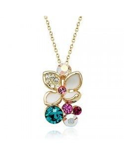 Magical Austrian Crystal Flower 18K Rose Gold Necklace