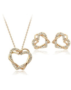 Entailment Dual Hearts 18K Rose Gold Necklace and Earrings Set