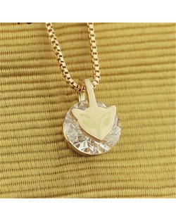 Zirconia Inlaid V Character Pendant Platinum Plated Alloy Necklace