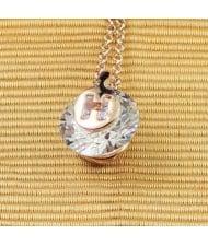 Zirconia Inlaid H Latter Pendant Rose Gold Necklace