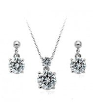 Classic Zirconia Platinum Plated Alloy Necklace and Earrings Set