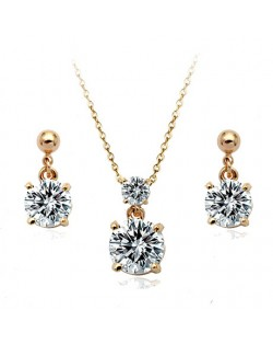 Classic Zirconia Rose Gold Necklace and Earrings Set