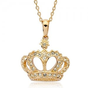 Austrian Crystals 18K Rose Gold Imperial Crown Pendant Necklace