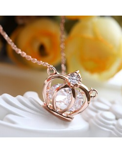 Zirconia and Rhinestone Inlaid Hollow Crown Rose Gold Necklace