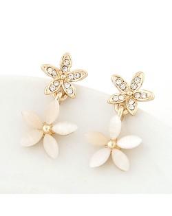 Sweet Korean Style Opal and Czech Rhinestone Floral Earrings