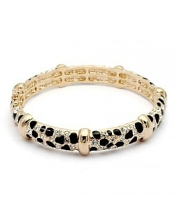Austrian Crystal Inlaid with Black Oil-spot Glazed Knots Design 18K Rose Gold Bangle