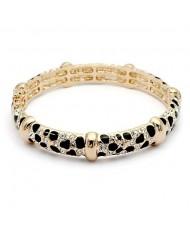 Austrian Crystal Inlaid with Black Oil-spot Glazed Knots Design 18K Rose Gold Bangle