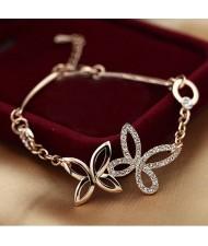 Rhinestone Embellished Pastoral Butterflies Rose Gold Bracelet