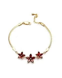 Romantic Red Flowers Pendants 18K Rose Gold Bracelet