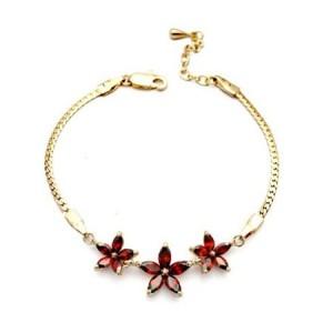 Romantic Red Flowers Pendants 18K Rose Gold Bracelet