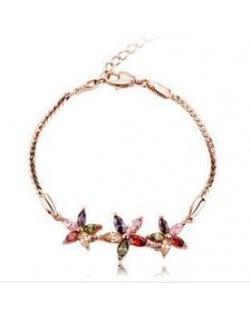 Romantic Multicolor Flowers Pendants 18K Rose Gold Bracelet