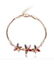 Romantic Multicolor Flowers Pendants 18K Rose Gold Bracelet