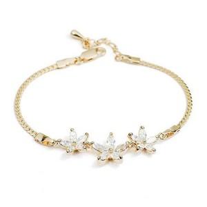 Romantic Transparent Flowers Pendants 18K Rose Gold Bracelet