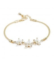 Romantic Transparent Flowers Pendants 18K Rose Gold Bracelet