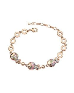 Triple Cute Fish Pendants Design 18K Rose Gold Bracelet - Multicolor
