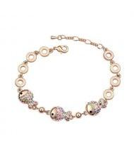 Triple Cute Fish Pendants Design 18K Rose Gold Bracelet - Multicolor