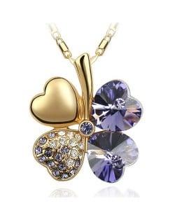 Sweetie Austrian Crystal Gloden Four Leaf Clover Necklace - Dark Purple