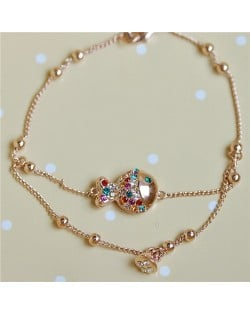 Austrian Rhinestone Inlaid Clownfish 18K Rose Gold Bracelet