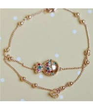 Colorful Austrian Crystal Embelished Clown Fish Pendant Rose Gold Bracelet