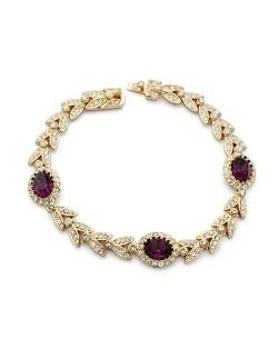 Blue Austrian Crystal Inlaid Garland Rose Gold Plated Bracelet