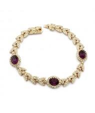 Purple Austrian Crystal Inlaid Garland Rose Gold Plated Bracelet