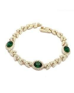 Green Austrian Crystal Inlaid Garland Rose Gold Plated Bracelet