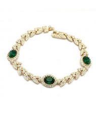 Green Austrian Crystal Inlaid Garland Rose Gold Plated Bracelet