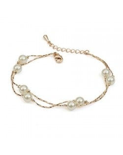 Pearls Fashion 18K Rose Gold String Bracelet