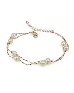 Pearls Fashion 18K Rose Gold String Bracelet