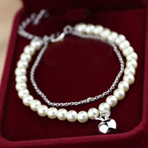 Platinum Plated Apple Pendant Dual Layers Pearl and Alloy Chains Bracelet