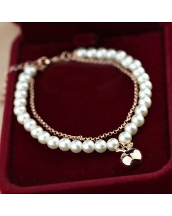 Rose Gold Apple Pendant Dual Layers Pearl and Alloy Chains Bracelet