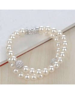 Dual Layer Pearl Fashion Platinum Plated Alloy Bracelet