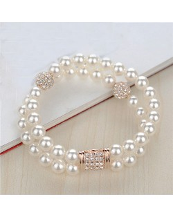 Dual Layer Pearl Fashion Rose Gold Bracelet