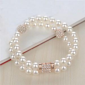 Dual Layer Pearl Fashion Rose Gold Bracelet