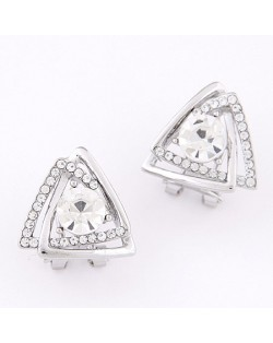 Korean Fashion Overlay Triangles Silver Ear Studs
