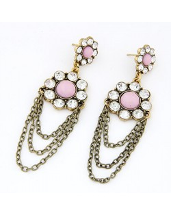 Rhinestone Inlaid Floral Style Dangling Tassel Earrings