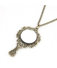 Vintage Magic Mirror Pendant Fashion Necklace