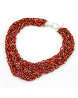 Bohemian Mini Beads Weaving Chunky Style Necklace - Red