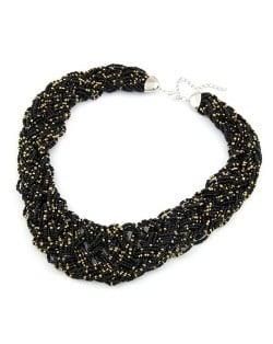 Bohemian Mini Beads Weaving Chunky Style Necklace - Black