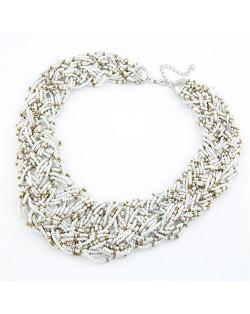 Bohemian Mini Beads Weaving Chunky Style Necklace - White