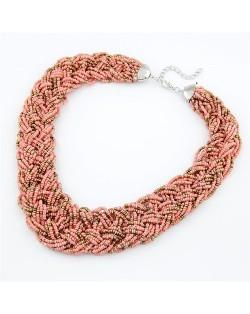 Bohemian Mini Beads Weaving Chunky Style Necklace - Light Rose