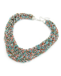 Bohemian Mini Beads Weaving Chunky Style Necklace - Multicolor