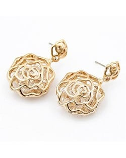 Korean Fashion Golden Hollow Rose Design Earrings