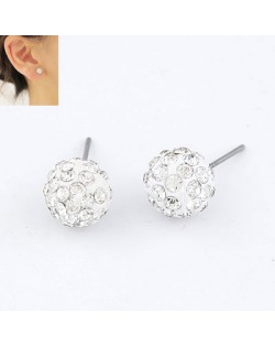 Crystal Semispheric Design Alloy Earrings