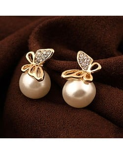 Korean Fashion Golden Butterfly Attached Pearl Ear Studs