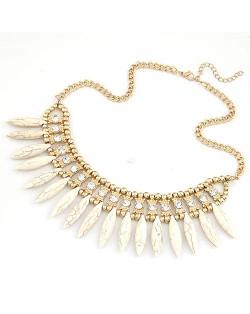 Droplets Stone Fashion Necklace - Beige