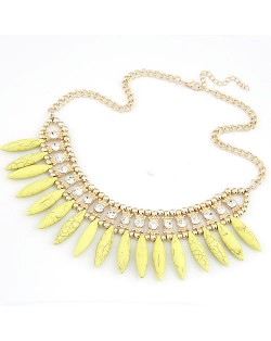 Droplets Stone Fashion Necklace - Yellow
